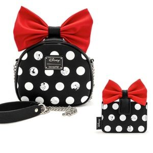 LOUNGEFLY MINNIE MOUSE CROSSBODY BAG & WALLET SET